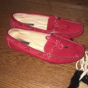Halogen vibrant red slip on flats.